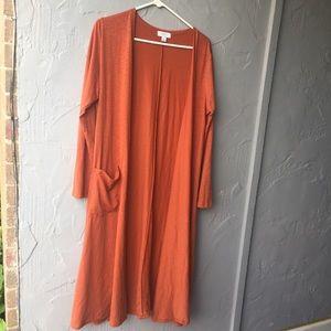 Lularoe Sarah orange cardigan duster large